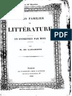 M.de Lamartine - Cours Familier de Littérature - Entretien 57-58