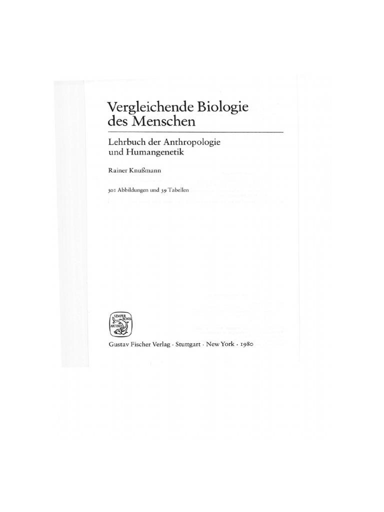 Rainer Knussmann Vergleichende Biologie Des Menschen 1 Auflage 1980