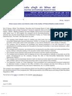 PR - Show cause notice cum Interim order in the matter of Polaris Realtors India Limited