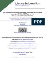 Jodelet, D. (2002). Les Représentations Sociales Dans Le Champ de La Culture