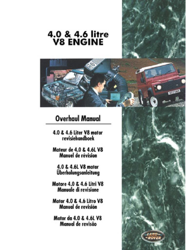 land rover discovery defender 4 0l 4 6l v8 overhaul piston rh scribd com Engine Overhaul Manual Lycoming O-320 Overhaul Manual