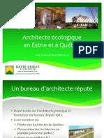 David Leslie, un architecte écologique pour votre projet