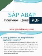 SAP abap Latest Interview Questions