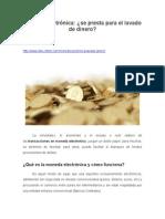Moneda Electrónica, Se Presta Para El Lavado de Dinero