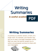 Writing Summaries A useful academic skill