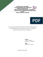 El Cuento Como Estrategia Didáctica Para La Promoción de La Comprensión de La Lectura en Los Niños y Las Niñas Del Centro de Educación Inicial Barbula II