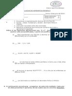 Evaluacion de Decimales Primero 2015
