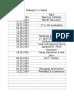 Pedagogy Schedule