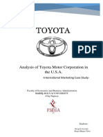 Analysis of Toyota Motor Corporation in the U.S.a.