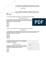 Lista de exercícios equlíbrio químico