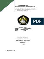 LAPORAN RESMI PRAKTIKUM FORMULASI SEDIAAN PADATLAPORAN RESMI PRAKTIKUM FORMULASI SEDIAAN PADAT