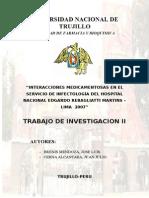 Interacciones Medicamentosas en El Servicio de Infectología Del Hospital Nacional Edgardo Rebagliatti Martins