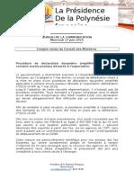 Compte Rendu Du Conseil Des Ministres - Mercredi 17 Juin 2015