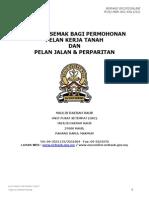 Senarai Semak Bagi Permohonan Pelan Kerja Tanah Dan Pelan Jalan & Perparitan