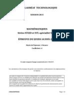 Bac techno STI2D 2015 - math