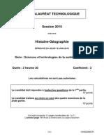 Bac ST2S 2015 - histoire-géographie