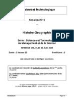 Bac STMG 2015 - histoire-géographie