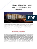 Availing Financial Assistance on Mass Communication and BBA Courses