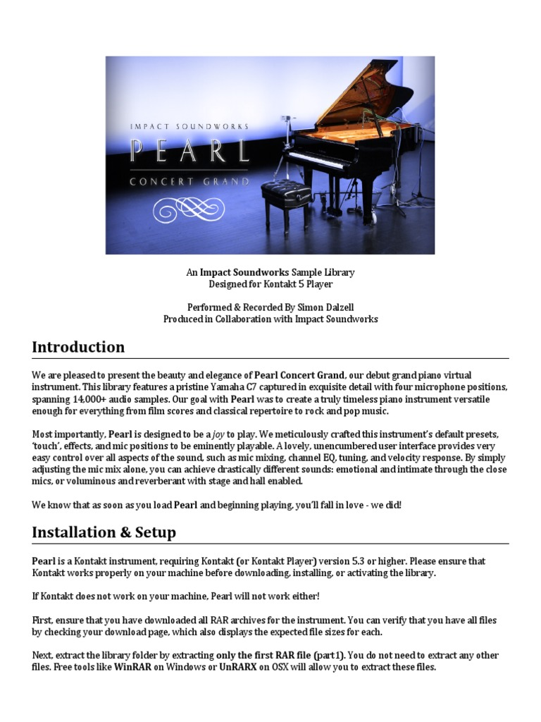 Pearl Concert Grand Documentation pdf | Piano | Microphone
