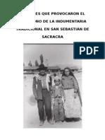 Factores Que Provocaron El Abandono de La Indumentaria Tradicional en San Sebastián de Sacracra Maria