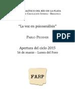 Pablo Peusner_La Voz en Psicoanalisis