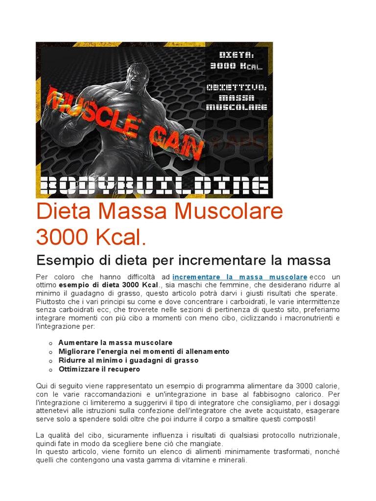 dieta 3000 calorie per la massa muscolare