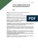 Formulación y Nomenclatura de Los Compuestos Químicos Inorgánicos