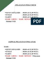 Jadwal Pelayanan Poli