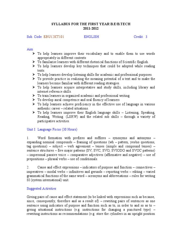 Eng Syllabus | English Language | Sentence (Linguistics)