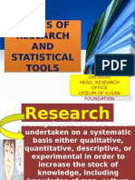 Basics of Research and Statistical Tools