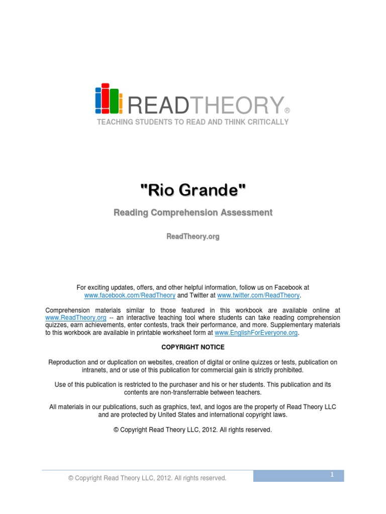 Worksheets Read Theory Worksheets 6 the rio grande free sample anger