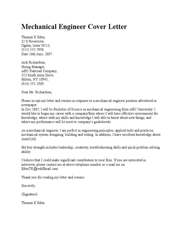 mechanical engineer cover letter ajay