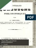 Abbé Guillaume OEGGER Nouvelles Questions Philosophiques 1835