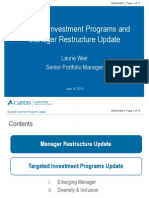 Targeted Investment Programs and Manager Restructure Update
