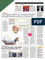 El Papa Convoca a Una Ecología Integral Para Salvar El Planeta