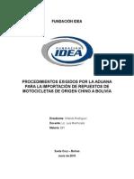 Monografía Procedimiento de Importación de Repuestos de Motos de Empresas Chinas a Bolivia
