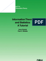 Information Theory and Statistics a Tutorial