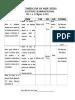 Plan de Actividades 3 Semana Institucional Iejmcordoba Durania