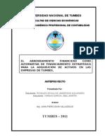 EL ARRENDAMIENTO FINANCIERO COMO ALTERNATIVA ESTRATEGICA PARA LA ADQUISICION DE ACTIVOS EN LAS EMPRESAS DE TUMBES.doc