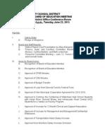 Watertown City School District Board of Education Agenda June 23, 2015