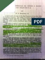 HOHENTHAL Jr., W. D. as Tribos Indígenas Do Médio e Baixo São Francisco, 1960.