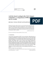 Activity Based Costing in the U K s Largest Companies a Comparison of 1994 and 1999 Survey Results 2000 Management Accounting Research