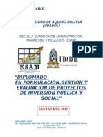 Contenido de Diplomado en Formulación y Elaboración de Poryectos