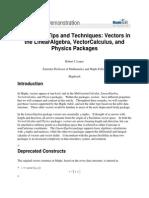 VectorsintheLinearAlgebra,VectorCalculus,andPhysicsPackages