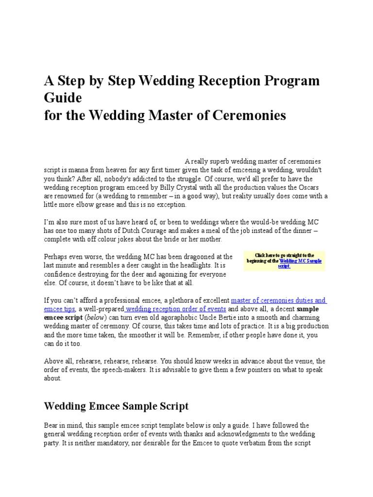 a step by step wedding reception program guide docx groomsman