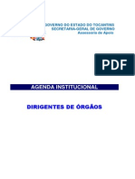 Agenda Institucional Do Governo Do Estado Do Tocantins