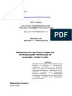 Presidente de La República Contra Las Municipalidades Provinciales de Cajatambo, Yauyos y Canta