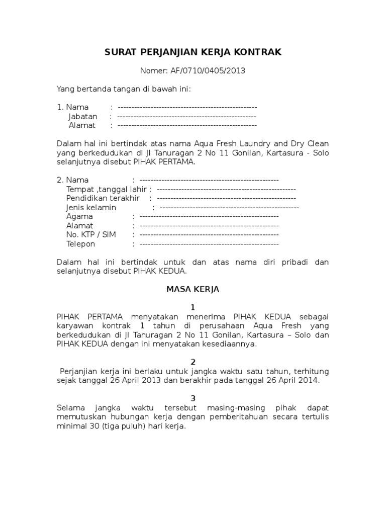 Surat Kontrak Kerja Pegawai