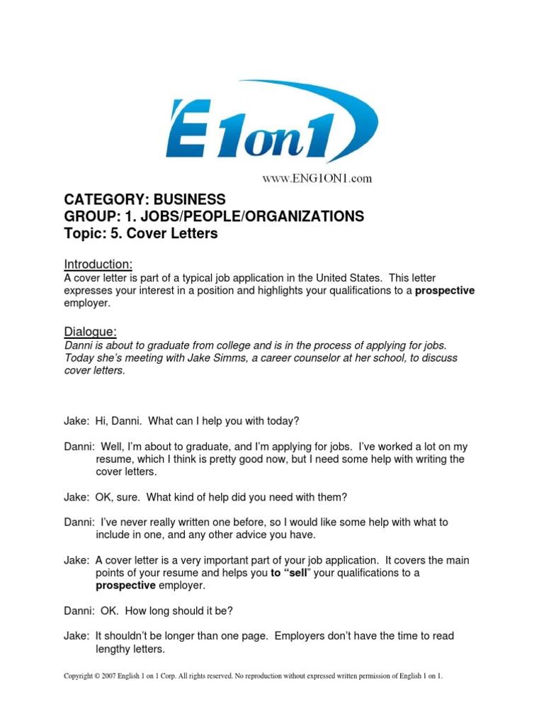 01 05 cover letters résumé communication