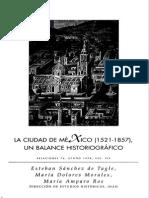 La ciudad de México (1521 - 1857). Un balance historiográfico